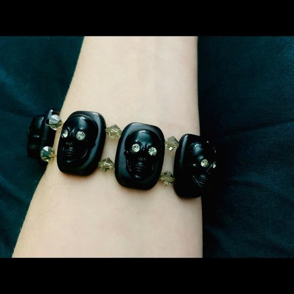 Vintage Tarina Tarantino Skull Cuff Bracelet